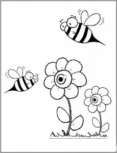 okul_öncesi_arı_iki_çiçek_boyama