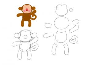 keçeden_hayvanlar_kalıpları_maymun