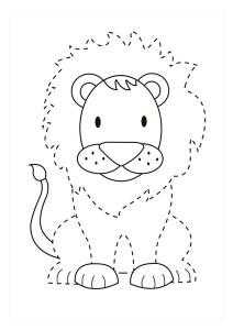 orman_hayvanları_çizgi_tamamlama_çalışmaları _aslan
