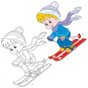 çocuklar_kayak_yapıyor_boyama
