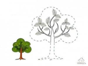çizgi tamamlama ve boyama ağaç