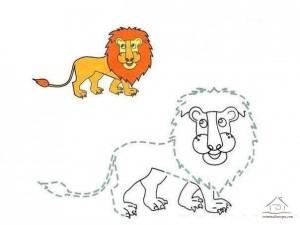 çizgi tamamlama ve boyama aslan