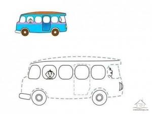 çizgi tamamlama ve boyama otobüs