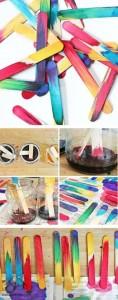 dil çubuklarından boyama çalışmaları