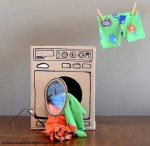 kartondan oyuncak çamaşır makinesi