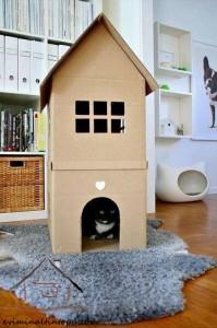 kartondan oyuncak ev yapımı