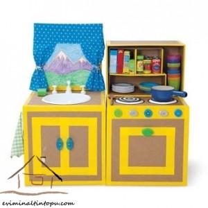 kartondan oyuncak mutfak yapımı