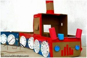 kartondan oyuncak tren