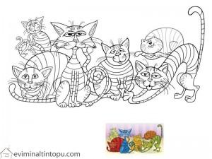 kediler eşleştirmeli boyama