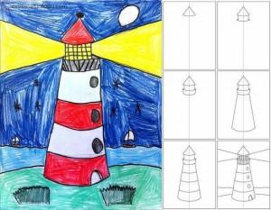 kolay deniz feneri çizimi