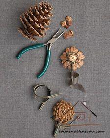 kozalaktan çiçek yapımı