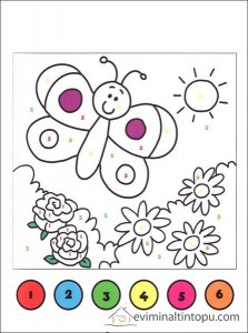 okul öncesi sayılarla boyama etkinliği