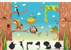 orman hayvanları çoklu gölge eşleştirme