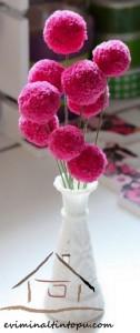 ponpondan vazo çiçeği