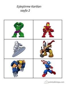 süper kahramanlar eşleştirme kartları