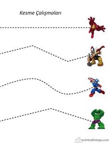 süper kahramanlar kesme çalışması