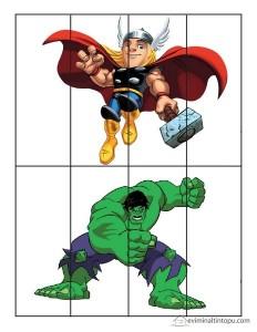 süper kahramanlar puzzle etkinliği