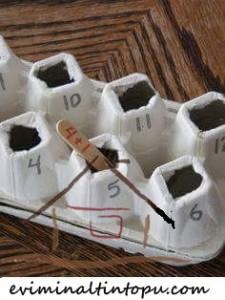 yumurta kabı ile matematik etkinliği