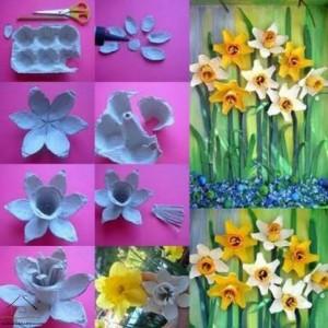 yumurta kutusundan çiçekler