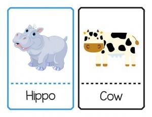 hayvanlar ve isimleri eşleştirme kartları