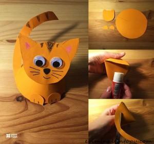 kağıttan nasıl yapılır kedi