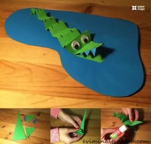 kağıttan nasıl yapılır timsah