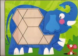 fil  temalı tangram örüntü blokları