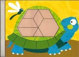 kaplumbağa  temalı tangram örüntü blokları