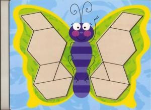 kelebek  temalı tangram örüntü blokları