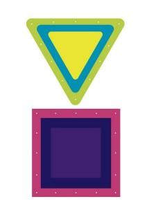 üçgen kare dikiş kartı