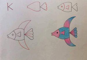 harflerden balık çizimi