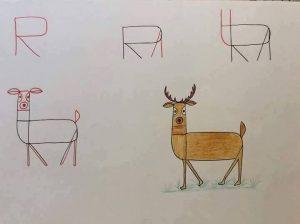 harflerden geyik çizimi