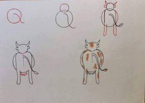 harflerden inek çizimi