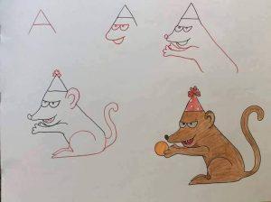 harflerden kolay hayvan çizimleri