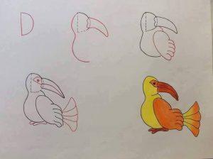 harflerden kuş çizimi