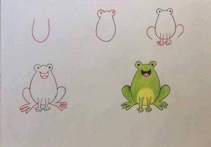 harflerden kurbağa çizimi