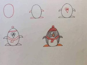 harflerden penguen çizimi