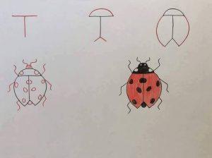 harflerden uğurböceği çizimi