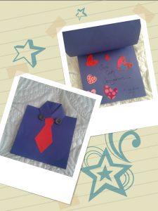 renkli kağıtlardan babalar günü hediye yapımı aşamaları ile (2)