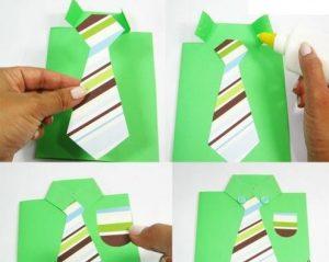 renkli kağıtlardan babalar günü hediye yapımı aşamaları ile (5)