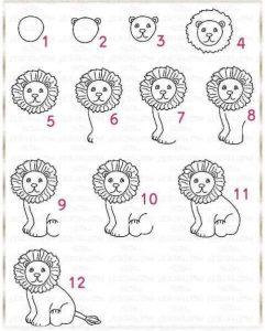 aslan çizimi adım adım