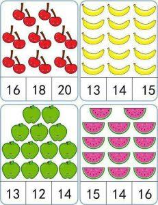 meyveler sayı kartları