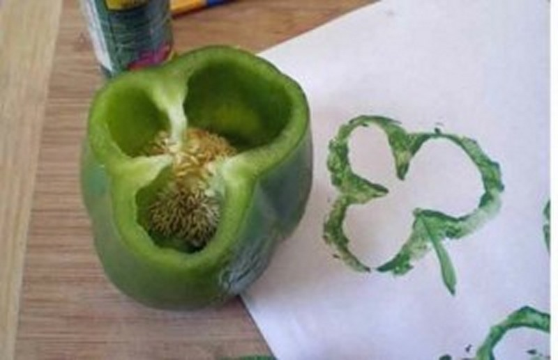 yeşil renk öğretimi biber baskı