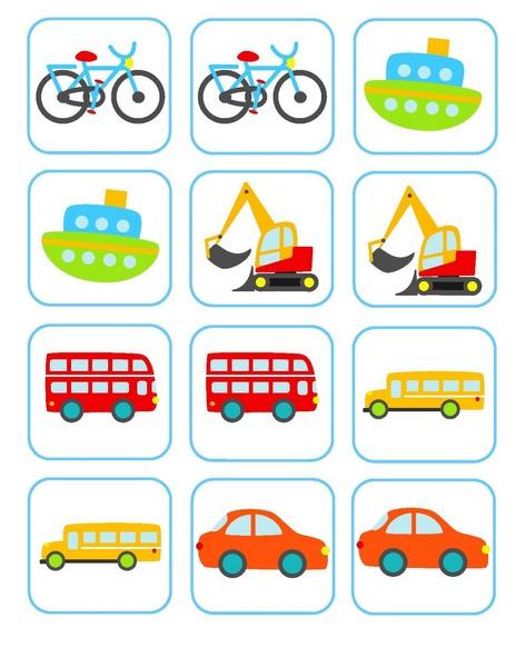 Taşıtlar Hafıza Kartları Okul öncesi Hafıza Kartları Evimin Altın Topu