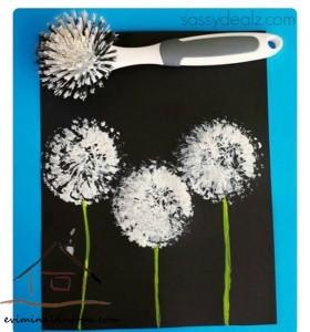 baskı_teknikleri_ile_hindiba_üfleyen_çiçek_yapımı_okul_öncesi