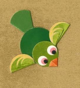 daire_kağıtlardan_yeşil_kuş