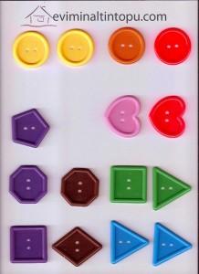 düğmelerle geometrik şekil etkinlikleri