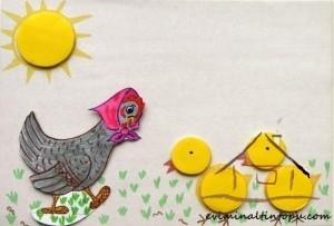 evadan tavuk ile şekil öğretimi