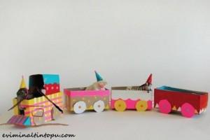 kartondan oyuncak tren yapımı
