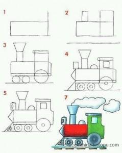 kolay buharlı tren çizimi